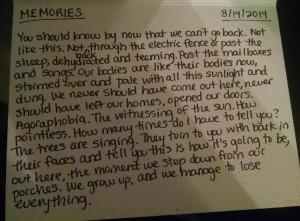 August 2014_Poem 14_Memories
